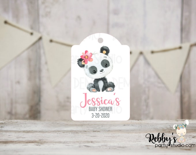 Girl Panda Baby Shower Tags, Baby Shower Party Favor Tags, 3 different sizes