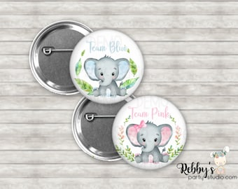 """Set of 20 Elephant Gender Reveal Button Pins , 2.25"""" Elephant Team Blue or Team Pink Pin Back Buttons, Elephant Shower Party"""