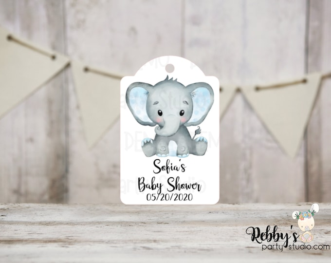 Set of 12 Boy Elephant Baby Shower Tags, Baby Shower Party Favor Tags, Thank You Tags, Blue Elephant, 3 different sizes