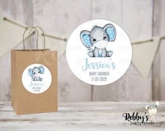 Quarantine Elephant Boy Baby Shower Round Stickers , Personalized Favor Stickers , Baby Shower Stickers , 10 Different Sizes Available