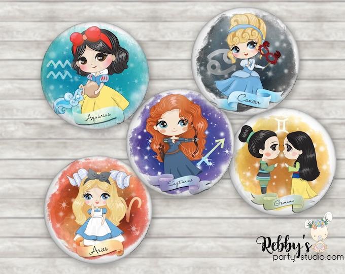 Astrology Princess Zodiac Button Pin, Birthday Button, Horoscope Birthday Gift, Astrology Gift