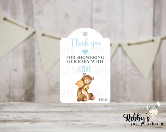 Boy Bear Baby Shower Thank You Tags, Baby Shower Party Favor Tags, Mommy and baby Bear, 3 different sizes