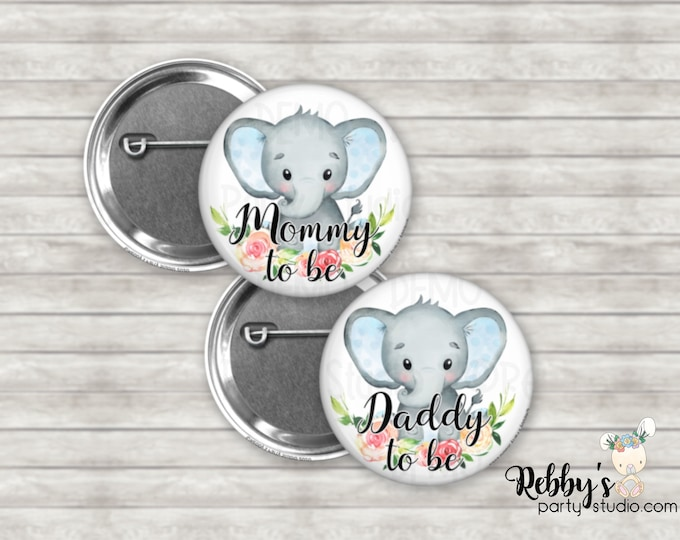Elephant Boy Baby Shower Badges, Mommy to be Pin Buttons, Personalized Pin Buttons, Blue Baby Elephant Button Badges