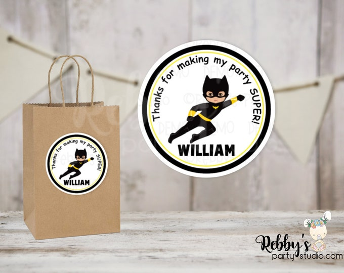 Superhero Flying Batboy Round Stickers , Superhero Birthday Party, Personalized Favor Stickers , 10 Different Sizes Available