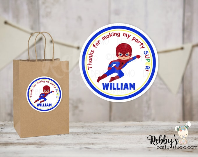 Superhero Flying Spiderboy Round Stickers , Superhero Birthday Party, Personalized Favor Stickers , 10 Different Sizes Available