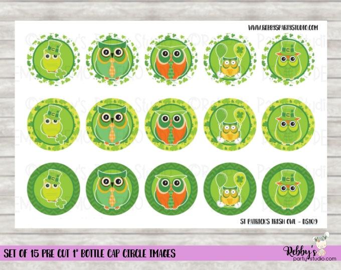 "Set of 15 St Patrick's Day Irish Owl Pre Cut 1"" Bottle Cap Circle Images DS109"