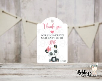 Girl Panda Baby Shower Thank You Tags, Baby Shower Party Favor Tags, 3 different sizes