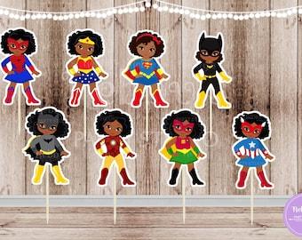 Superhero Girl Party - Set of 16 Assorted African American Superhero Girls Inspired Cupcake Toppers