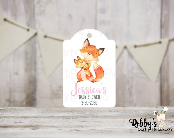 Girl Fox Baby Shower Tags, Baby Shower Party Favor Tags, Mommy and baby Fox, 3 different sizes