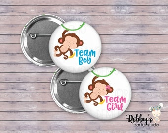 """Set of 20 Gender Reveal Button Pins , 2.25"""" Monkey Team Boy and Team Girl Pin Back Buttons, Monkey Baby Shower Party"""