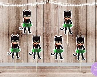 Superhero Villain Girl Party - Set of 12 Green Tutu Catgirl Inspired Double Sided Cupcake Toppers