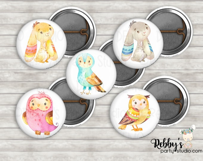"""Cute Woodland Assorted 1"""" inch Mini Buttons - Mini Pin Back Buttons - Flat Back Buttons - Party Favors - Baby Shower Favors"""