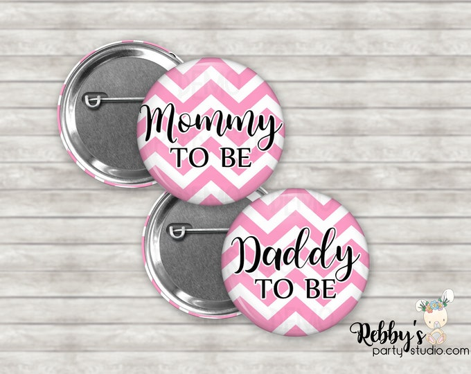 Chevron Pattern Baby Shower Badges, Mommy to be Pin Buttons, Name Badge Pin Buttons, Family Name Tags, Chevron Pattern Button Badges