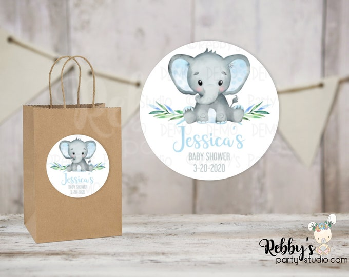 Elephant Boy Personalized Baby Shower Round Stickers , Personalized Favor Stickers , Baby Shower Stickers , 10 Different Sizes Available
