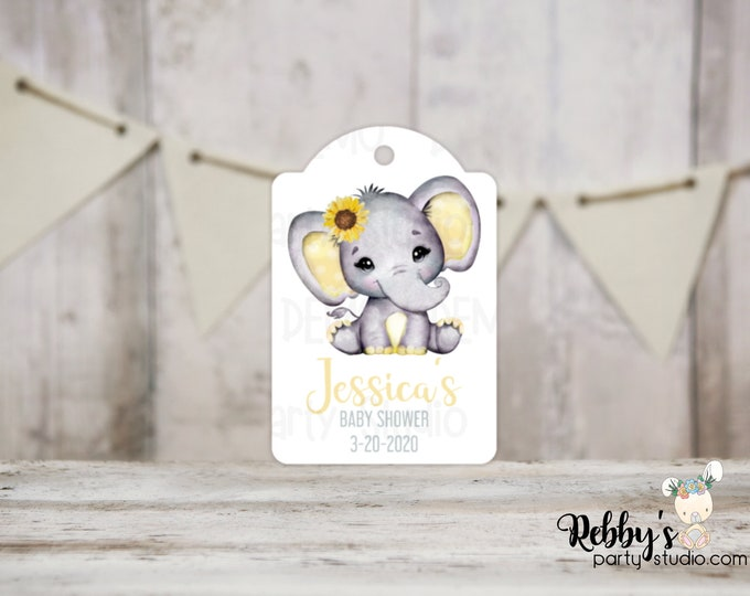 Set of 12 Sunflower Yellow Elephant Baby Shower Tags, Baby Shower Party Favor Tags, Thank You Tags, 3 different sizes