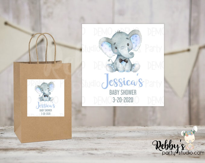 Blue Elephant with Tie Personalized Baby Shower Square Stickers, Personalized Stickers, Baby Shower Stickers, 5 Different Sizes Available