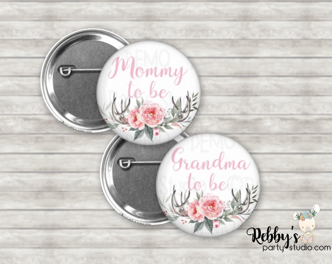 Deer Antlers Baby Shower Pin Buttons, Mommy to be Pin Buttons, Personalized Pin Buttons, Boho Floral Button Badges