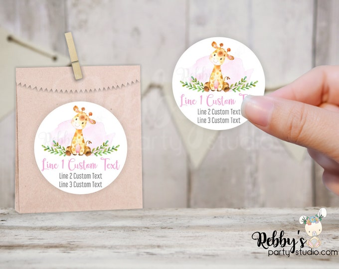 Giraffe Personalized Baby Shower Round Stickers, Pale Pink, Jungle Party Stickers, Goody Bag Stickers, 10 Different Sizes Available