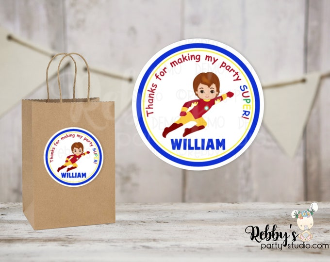 Superhero Flying Iron Boy Round Stickers , Superhero Birthday Party, Personalized Favor Stickers , 10 Different Sizes Available