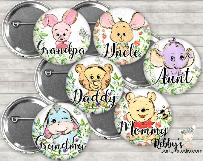 Cute Classic Bear Baby Shower Pin Buttons, Mommy to be Pin Buttons, Personalized Pin Buttons, Bear and Friends Button Badges