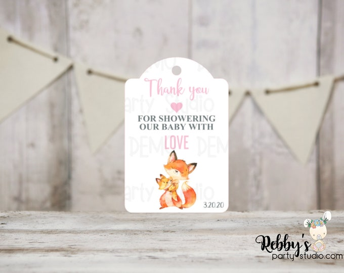 Girl Fox Baby Shower Thank You Tags, Baby Shower Party Favor Tags, Mommy and baby Fox, 3 different sizes