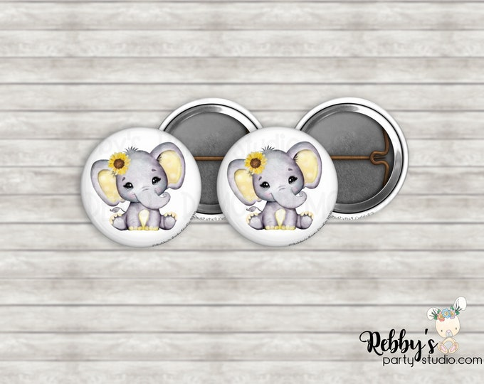 """Set of 10 Sunflower Yellow Elephant 1"""" inch Mini Buttons - Mini Pin Back Buttons - Baby Shower Favors"""