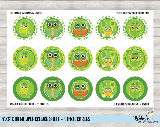 Instant Download - St Patrick's Day Irish Owl 4x6 Digital 1 inch Bottle Cap Circle Images DS109