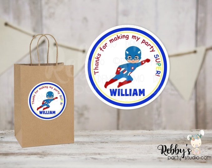 Superhero Flying Captain Boy Round Stickers , Superhero Birthday Party, Personalized Favor Stickers , 10 Different Sizes Available