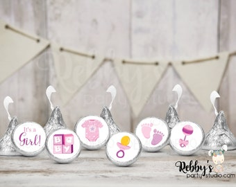 """It's a Girl Hershey Kiss Stickers, 108 Baby Shower Stickers, Envelope Seals, 0.75"""" Circle Stickers"""