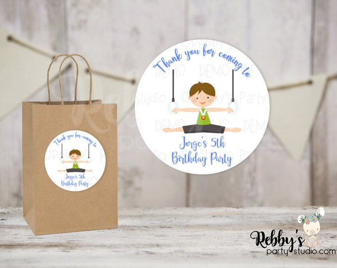 Gymnastic Boy Personalized Birthday Party Round Stickers , Personalized Favor Stickers , Gymnastic Stickers , 10 Different Sizes Available