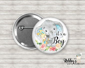It's a Boy Cute Blue Baby Elephant Pin Back Button, Baby Shower Pin Buttons , Announcement Baby Button Pins