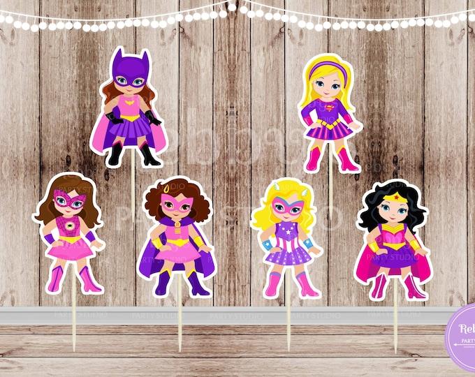 Superhero Girl Party - Set of 12 Assorted Pink Superhero Girls Inspired Cupcake Toppers