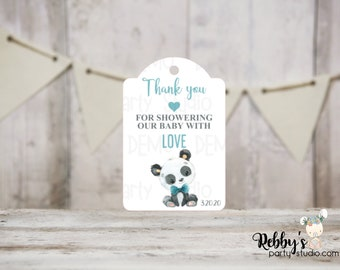 Boy Panda Baby Shower Thank You Tags, Baby Shower Party Favor Tags, 3 different sizes