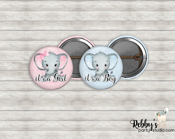 """Set of 10 Elephant Gender Reveal 1"""" inch Mini Buttons - Mini Pin Back Buttons - Baby Shower Favors - It's a Boy - It's a Girl"""