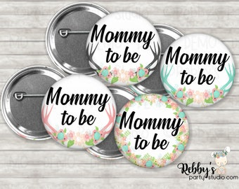 Baby Deer Antlers Baby Shower Pin Buttons, Mommy to be Pin Buttons, Personalized Pin Buttons, Floral Button Badges