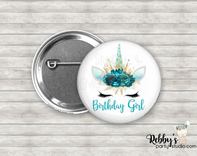 "Unicorn Birthday Girl 2.25"" Button, Birthday Party Favor, Birthday Pin Buttons D6164"