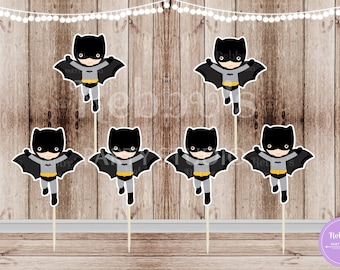 Action Superhero Boy Party - Set of 12 Batboy Inspired Cupcake Toppers