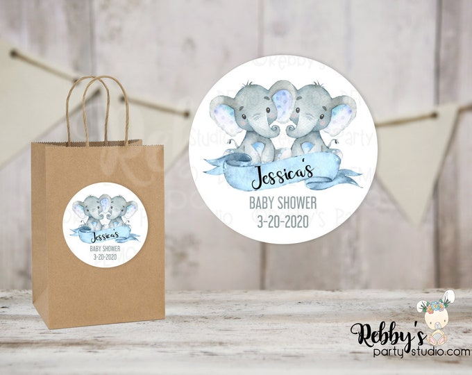 Twin Boys Elephant Personalized Baby Shower Round Stickers, Personalized Favor Stickers, Baby Shower Stickers, 10 Different Sizes Available