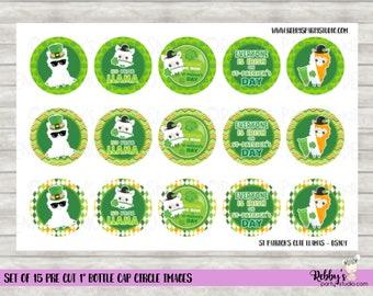 """Set of 15 St Patrick's Cute Llamas Pre Cut 1"""" Bottle Cap Circle Images DS104"""