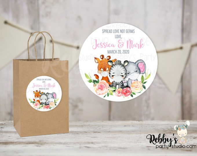 Spread Love Not Germs Pink Safari Baby Shower Round Stickers, Personalized Favor Stickers, 10 Different Sizes Available
