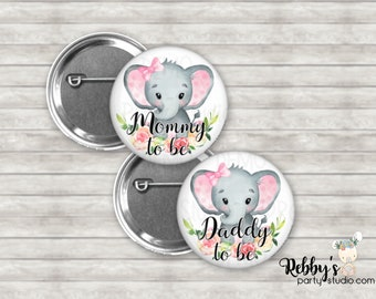 Elephant Girl Baby Shower Badges, Mommy to be Pin Buttons, Name Badge Pin Buttons, Family Name Tags, Pink Baby Elephant Button Badges