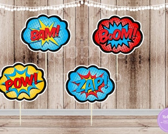Action Superhero Party - Set of 12 Assorted Action Superhero Pop Art Cupcake Toppers
