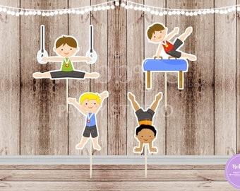 Boys Gymnastics Party - Set of 12  Assorted Boy Gymnast Cupcake Toppers
