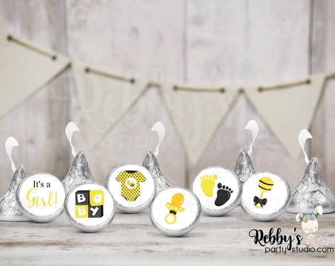 """It's a Girl Baby Bee Hershey Kiss Stickers, 108 Baby Shower Stickers, Envelope Seals, 0.75"""" Circle Stickers"""