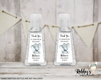 Gray Elephant Bow Tie Personalized Thank You Baby Shower Triangular Hand Sanitizer Labels, Personalized Favor Stickers, Baby Shower Stickers