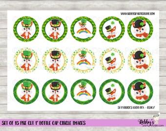 "Set of 15 St Patrick's Day Lucky Fox Pre Cut 1"" Bottle Cap Circle Images DS107"