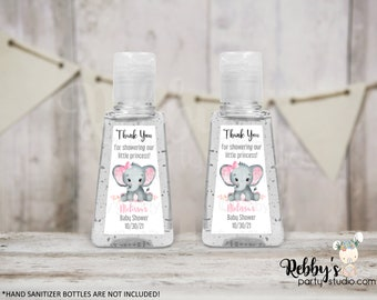 Elephant Girl Personalized Thank You Baby Shower Triangular Hand Sanitizer Labels, Personalized Favor Stickers, Baby Shower Stickers