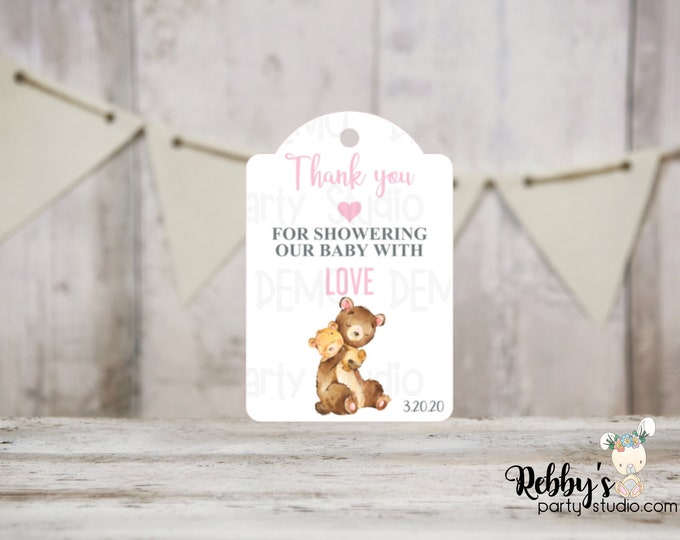 Girl Bear Baby Shower Thank You Tags, Baby Shower Party Favor Tags, Mommy and baby Bear, 3 different sizes