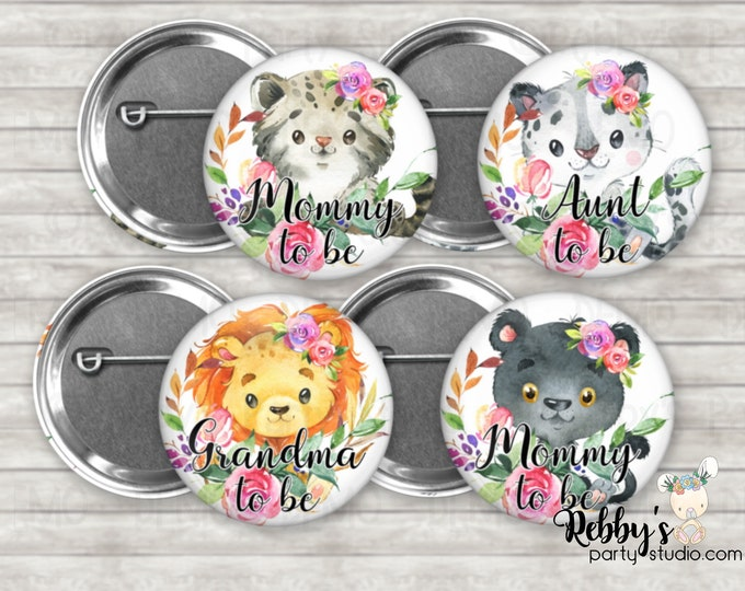 Wild Cats Girl Baby Shower Pin Buttons, Mommy to be Pin Buttons, Personalized Pin Buttons,  Flower Cubs Button Badges