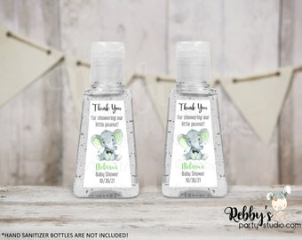 Green Elephant Bow Tie Personalized Thank You Baby Shower Triangular Hand Sanitizer Labels, Personalized Favor Stickers